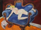 """Debbie on blue sofa with cat"", 1983<br>olej na płótnie<br>91 x 121 cm<br>(Wł. MUT)"