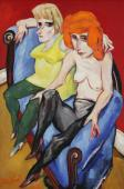 """Two girls caressing on blue sofa"", 1989<br>olej na płótnie<br>91 x 60,5 cm<br>(Wł. MUT)"