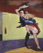 """Two women (fighting) in Barcelona"", 1992-1996<br>olej na płótnie<br>92 x 76 cm<br>(Wł. MUT)"