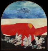 """""""Birds white red"""", 1962<br>olej na płycie pilśniowej<br>123 x 116 cm<br>(Wł. MUT)"""